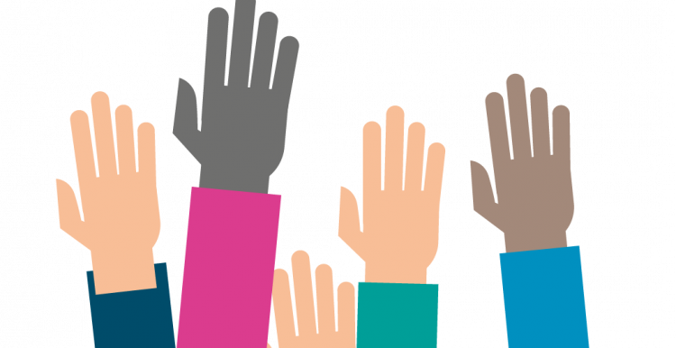 Colourful graphic image of a group of hands in the air