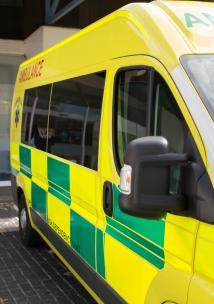 Ambulance parked up in front of hospital